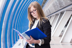 Young business woman reading documents folder Stock Image