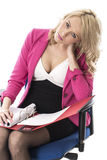 Young Business Woman Reading File Papers Royalty Free Stock Images