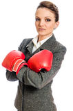 Young Business woman ready to fight Royalty Free Stock Photos