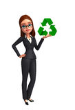 Young Business Woman with recycle sign Royalty Free Stock Photos