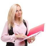 Young business woman with red folder Stock Photo
