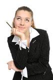 The young business woman reflects Royalty Free Stock Image