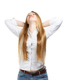 Young business woman relaxed on white background Royalty Free Stock Photos