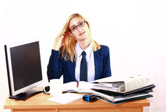Young Business Woman Relaxing Behind Desk Royalty Free Stock Photo