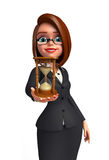 Young Business Woman with sand clock Stock Images