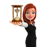 Young Business Woman with sand clock Royalty Free Stock Photo