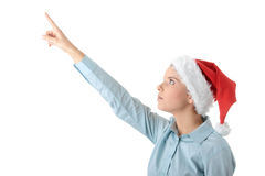 Young business woman in santa hat Royalty Free Stock Photos