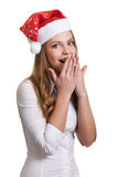 Young business woman in santa hat Royalty Free Stock Photo