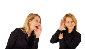 Young Business Woman Say And Other Woman Listening Royalty Free Stock Photo