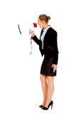 Young business woman screaming through megaphone Royalty Free Stock Photography