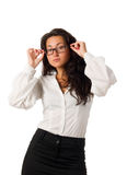Young business woman set her black glasses Royalty Free Stock Photos