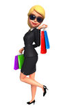 Young Business Woman with shopping bags Stock Image