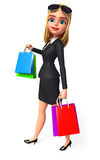 Young Business Woman with shopping bags Stock Photography