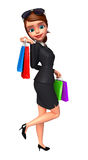 Young Business woman with shopping bags Stock Images
