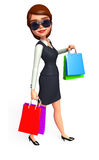 Young Business Woman with shopping bags Stock Photo