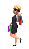 Young Business Woman with shopping bags Royalty Free Stock Image