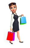 Young Business Woman with shopping bags Royalty Free Stock Photography