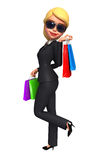 Young Business Woman with shopping bags Stock Photos