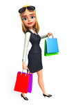 Young Business woman with shopping bags Royalty Free Stock Images