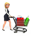 Young Business Woman with shopping bags and trolley Royalty Free Stock Image