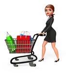 Young Business Woman with shopping bags and trolley Stock Photo