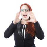 Young business woman shout with hands on mouth. Young beautiful business woman shout with hands on mouth, isolated on white background Royalty Free Stock Photo