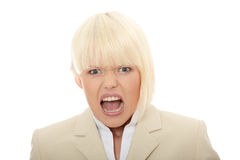 Young business woman shouting Royalty Free Stock Images
