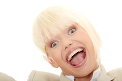 Young business woman shouting Stock Photo