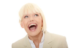 Young business woman shouting Stock Image