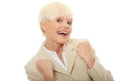 Young business woman shouting Royalty Free Stock Photography