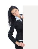 Young business woman showing blank signboard Stock Photos