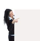 Young business woman showing blank signboard. Happy smiling young business woman showing blank signboard, isolated on white background Stock Photography