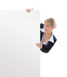 Young business woman showing blank signboard Royalty Free Stock Photos