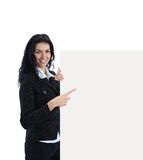 Young business woman showing blank signboard Stock Images