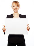 Young business woman showing blank signboard Royalty Free Stock Photography