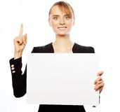 Young business woman showing blank signboard Stock Photography