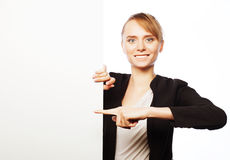 young business woman showing blank signboard Stock Image