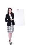 Young business woman showing blank signboard Stock Photo
