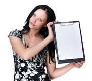 Young business woman showing blank signboard over white Royalty Free Stock Image