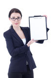 Young business woman showing clipboard isolated on white Stock Photos