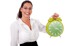 Young business woman showing a green colour clock Royalty Free Stock Photography
