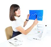 Young business woman showing  the growth Royalty Free Stock Images