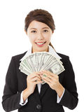 young business woman showing money Stock Photos