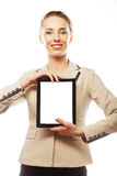 Young business woman showing tablet Stock Images