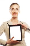 Young business woman showing tablet Stock Photo