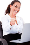 Young business Woman showing thumbs up sign Royalty Free Stock Images