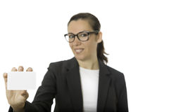 Young business woman showing a visit card Royalty Free Stock Image
