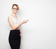 young business woman shows something Stock Photography