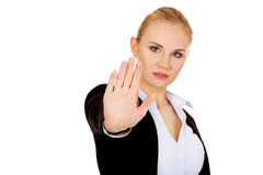 Young business woman shows stop gesture Royalty Free Stock Photo
