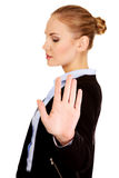 Young business woman shows stop gesture Stock Photography